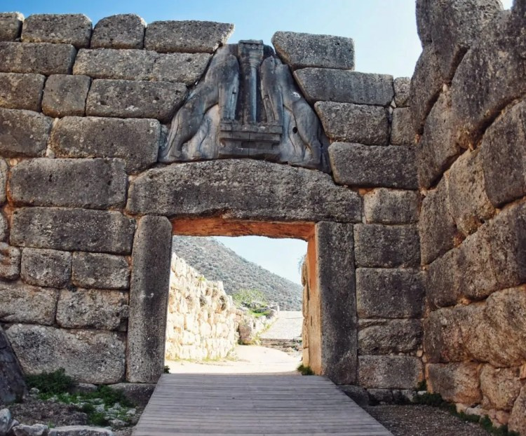 The Lion Gate at the Entrance to the Citadel at Mycenae