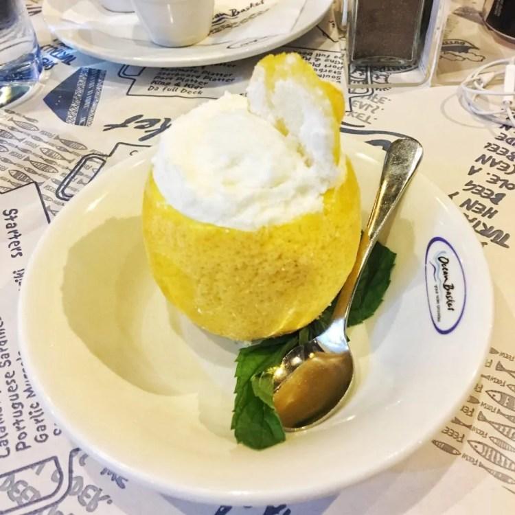 lemon ice cream ocean basket dessert