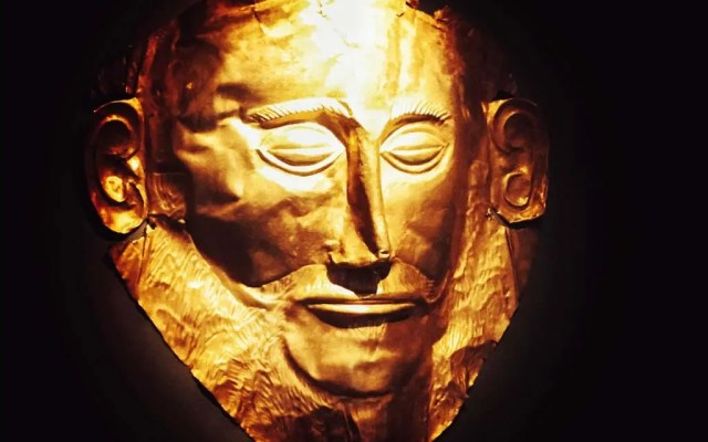 The Mask of Agamemnon, housed in the National Archaelogical Museum in Athens, found at Mycenae
