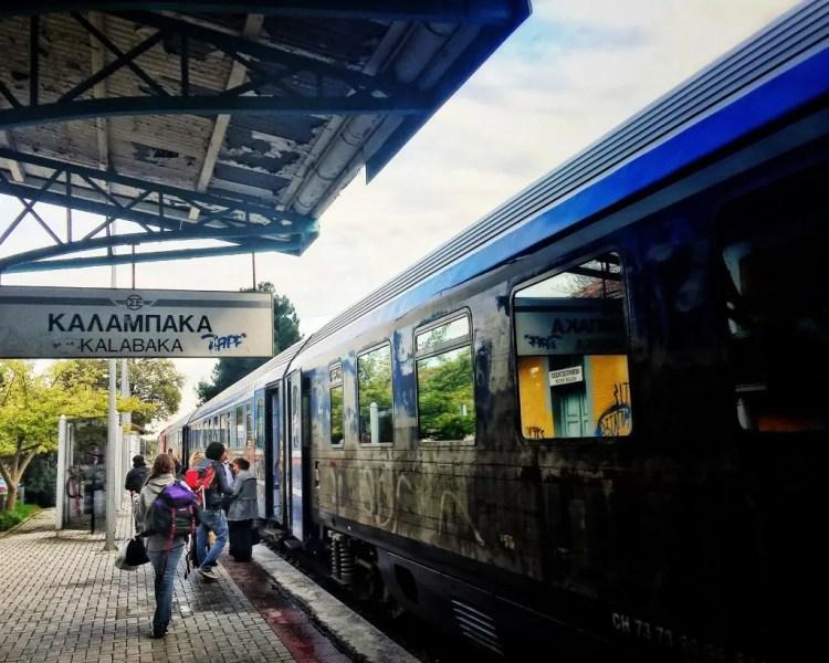The train station at Kalabaka. Heading back to Athens.
