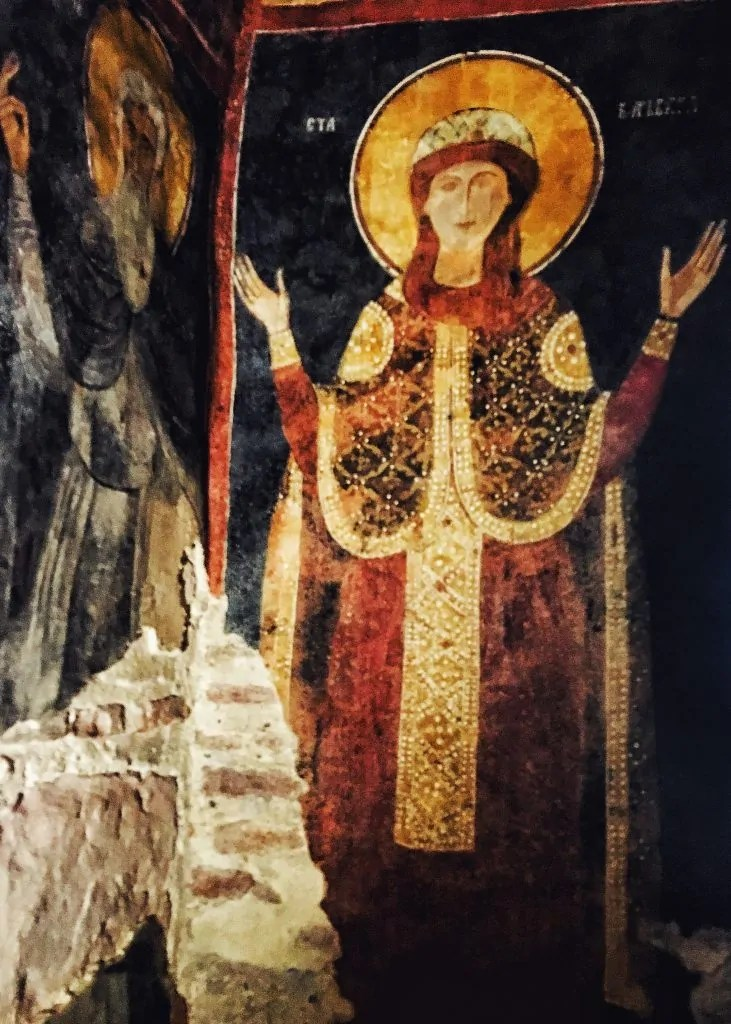 A fresco of St. Sofia inside the church