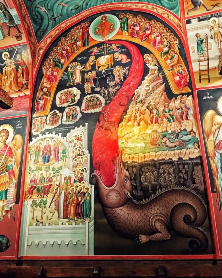 A mural inside St. Stephens Monastery in Meteora