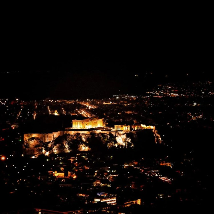 The Parthenon on the Acropolis at Night from Mount Lycobettos