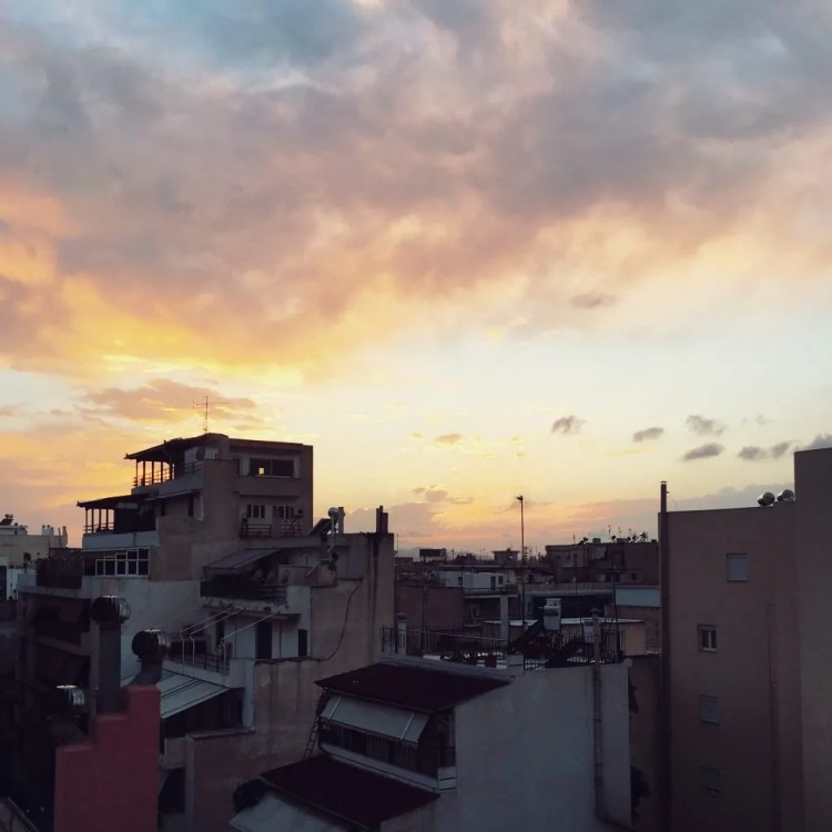 Sunset view from my apartment in Kalithea