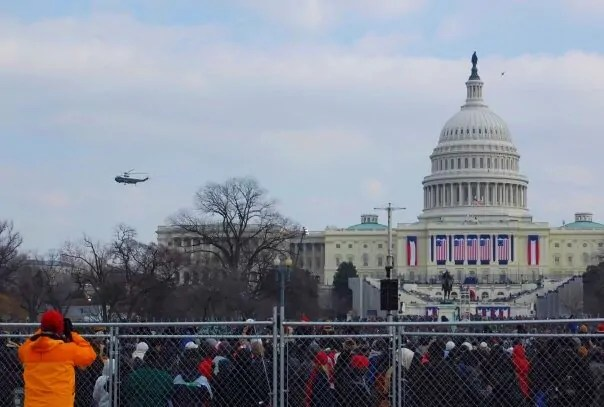 George W. Bush leaving in the helicopter at the end of the ceremony.