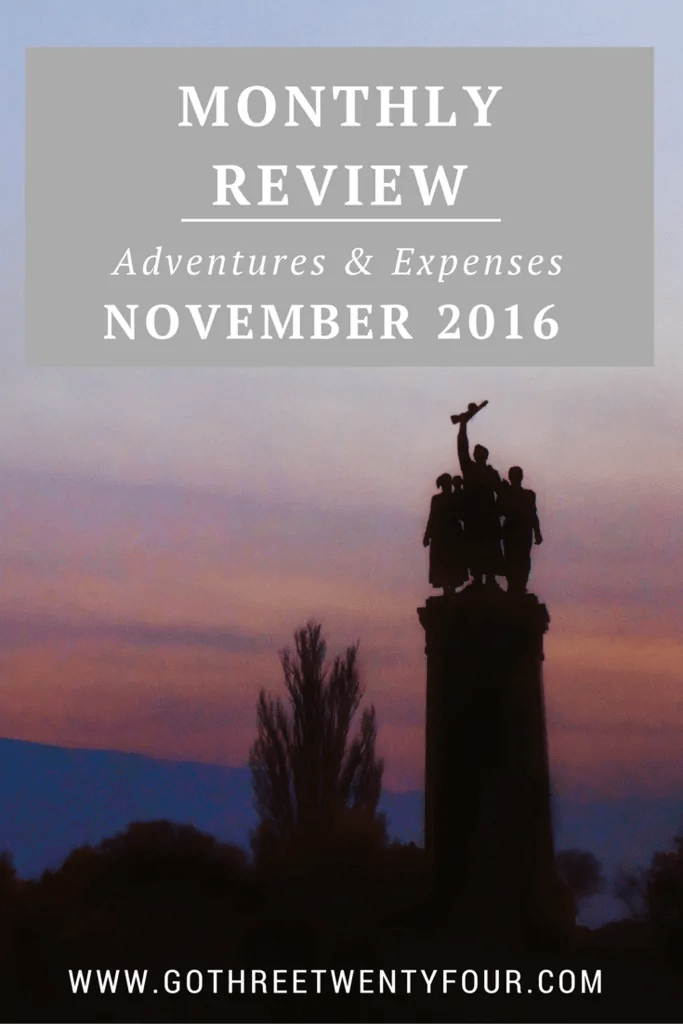 November 2016 Review: Adventures and Expenses