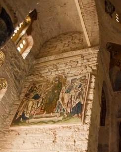Artwork under restoration in the church