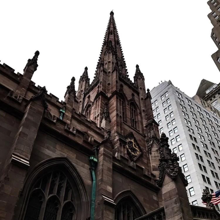 The steeple of Trinity Church