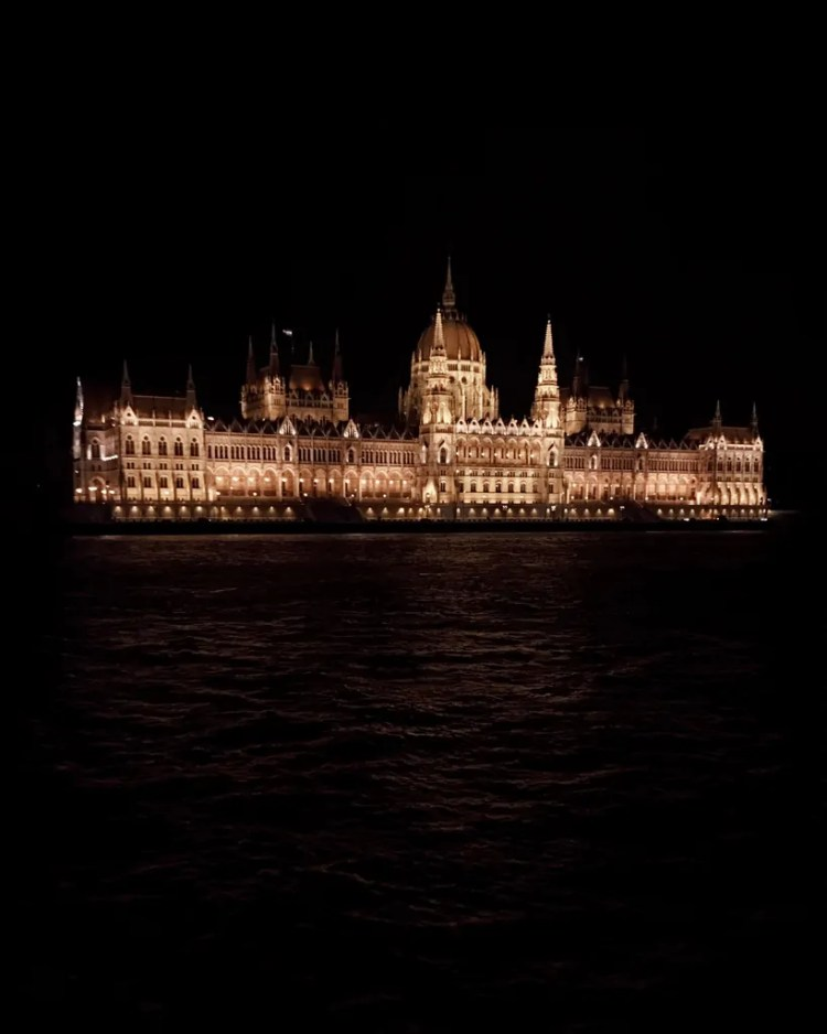 The Hungarian Parliament at Night from a River Cruise