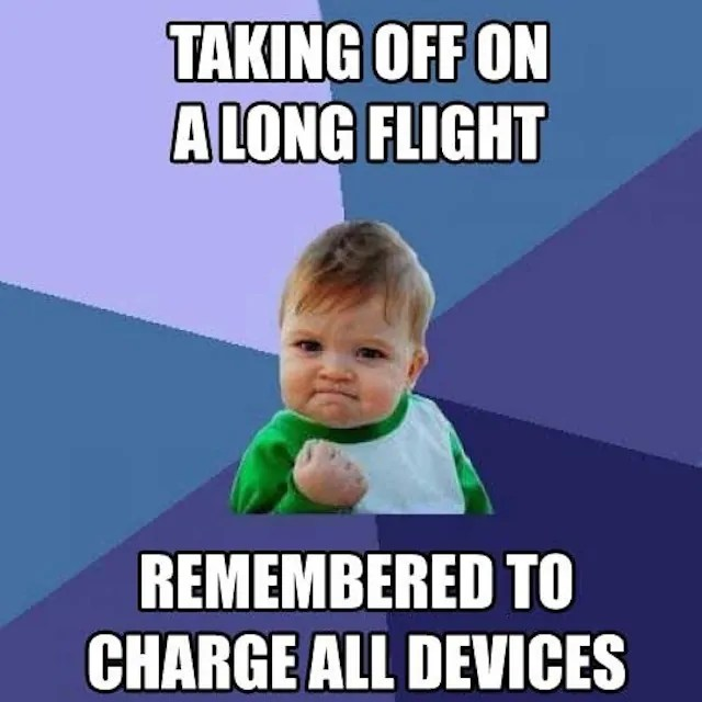 charge devices before flight meme