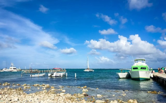 The water taxi terminal in San Pedro on Ambergris Caye