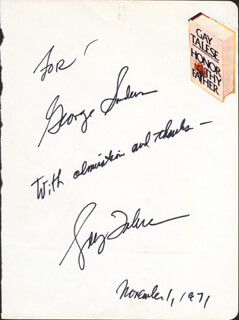 1971 Gay Talese : talese, Talese, Autograph, Signed, 11/01/1971, HistoryForSale, 18810