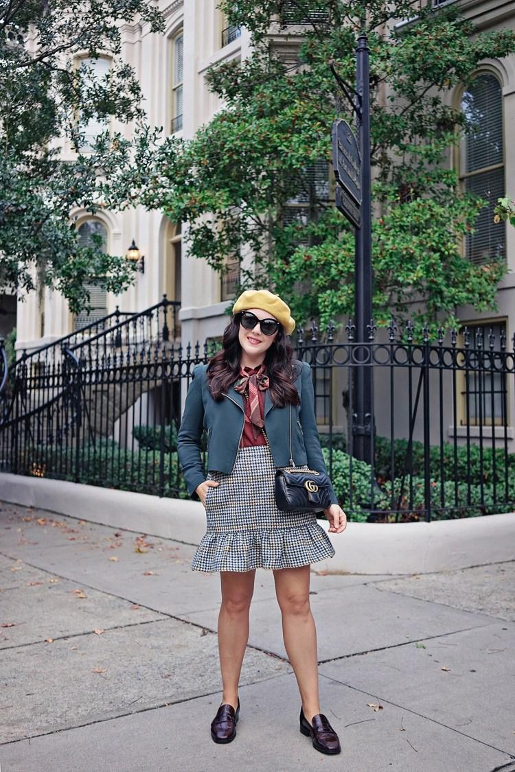 jcrew Ruffle mini skirt in houndstooth