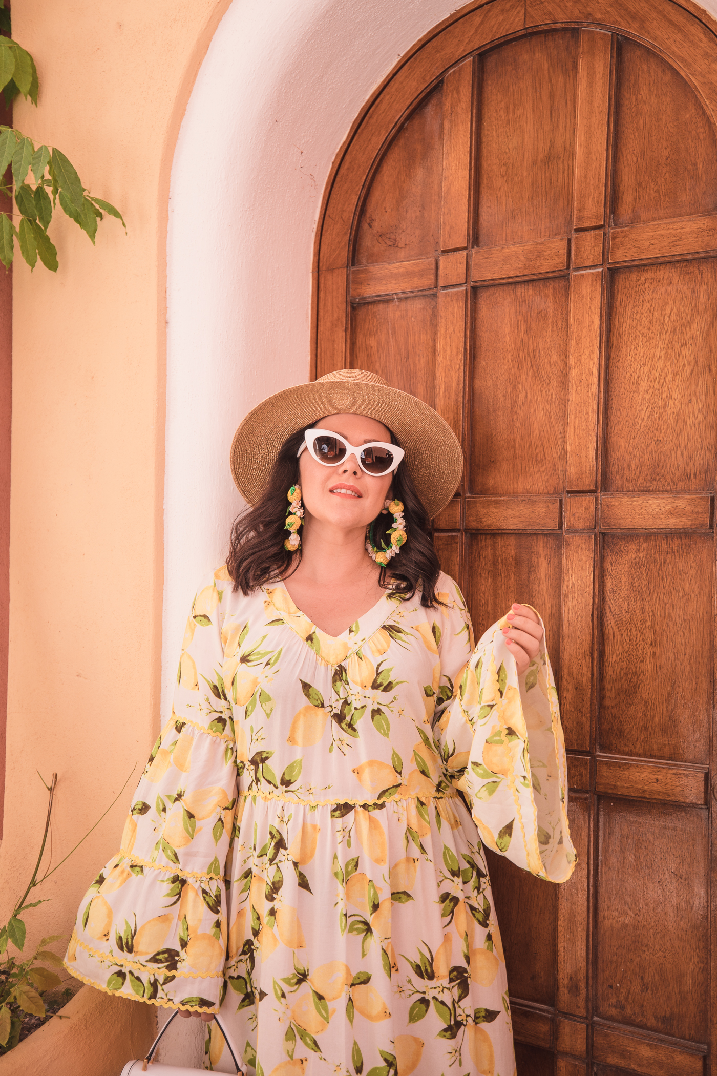 Lemon print dress in Positano