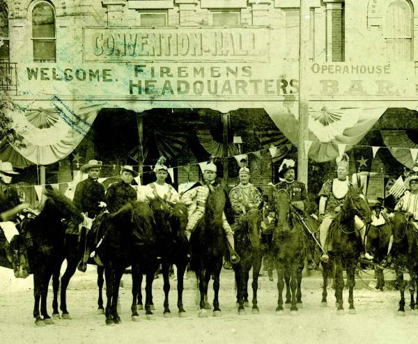 State Firemen's Convention in front of Seekatz Opera House, 1916.