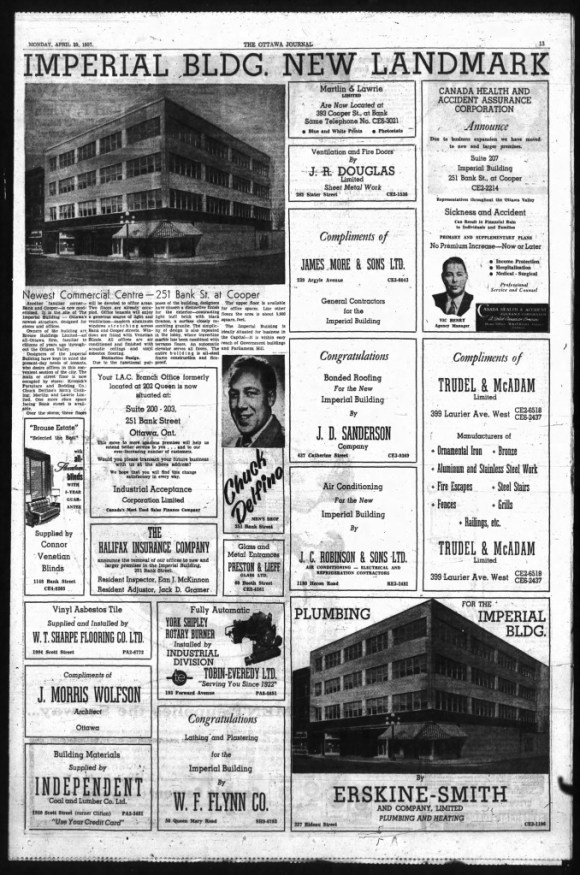 """Imperial Bldg. New Landmark"" Ottawa Journal, April 29, 1957"