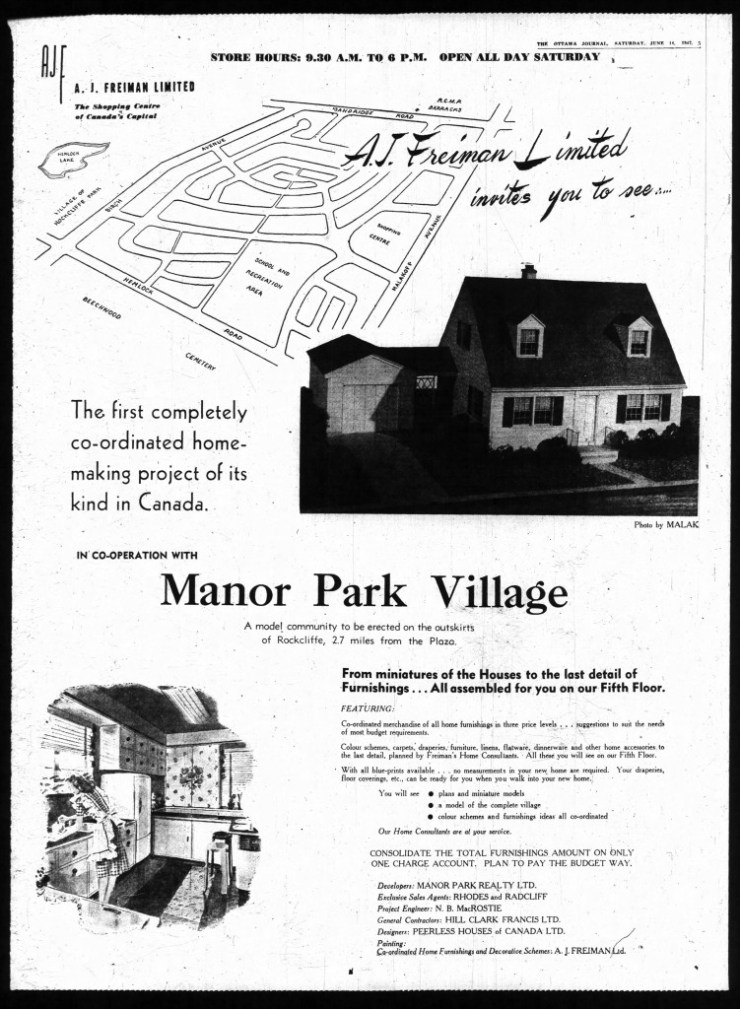 """Rather than relying exclusively on ambulant (Rhodes and Radcliff) real estate agents and a showroom/demonstration house in the yet-undeveloped property, Manor Park Realty partnered up with Frieman's Department Store to mutual benefit. Note that St. Laurent Blvd. is named """"Malakoff"""" in this ad's map. It was at that point known as Mount (or sometimes Mountain or Baseline). This placeholder name may be a playful insertion by the photographer whose shot of a model home is used in the ad. Source: Ottawa Journal, June 14, 1947."""