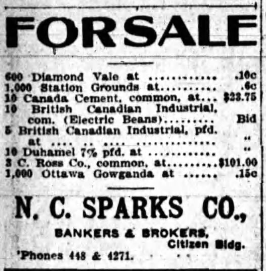 Invest in British Canadian as a whole or in the Electric Beans specifically. Your choice. Source: Ottawa Journal, November 23, 1910.