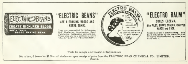 """Advertisement in Canadian Druggist. Electric Beans weren't the only medicinal product in the company's catalogue. """"Electric"""" appears to be the Edwardian/Georgian equivalent to """"Extreme"""", """"Pro"""", or """"i"""". Source: Canadian Druggist, January 1911."""