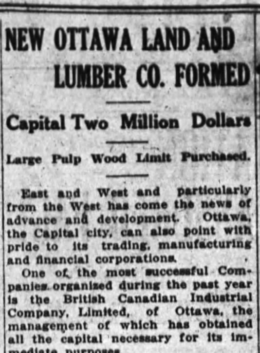 On July 24, the birth of International Land and Lumber was announced. Source: Ottawa Journal, July 24, 1911.