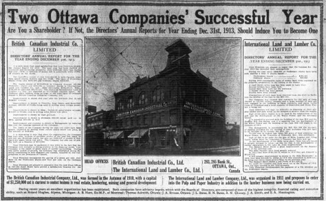 1914 seems to have been a good year for the Bates' enterprises. Source: Ottawa Journal, April 29, 1914.