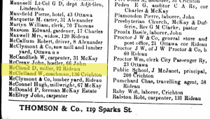 Working as a miller. Source: Ottawa City Directory, 1883.