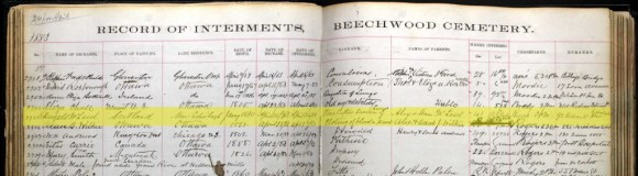 Beechwood Cemetery register for Dugall McLeod. Notice that Stanley was then known as Rideau. Source: Beechwood Cemetery Internments, 1873-1990 (Ancestry.ca).