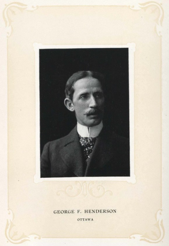 """George F. Henderson in 1905. Established, Vital, a Legal Eagle if there ever was one. Source: Wilkie, Cooper, and Benedict (eds) """"The Bench and the Bar of Ontario."""" Toronto: Brown-Searle Printing Co. 1905, p. 204."""