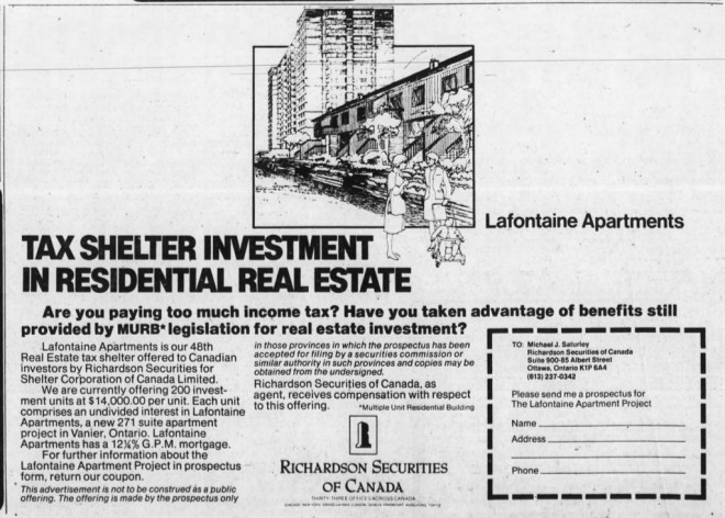 Real estate-based tax shelters weren't exactly an obscure or hidden thing. Source: Ottawa Journal, August 6, 1980, Page 30.