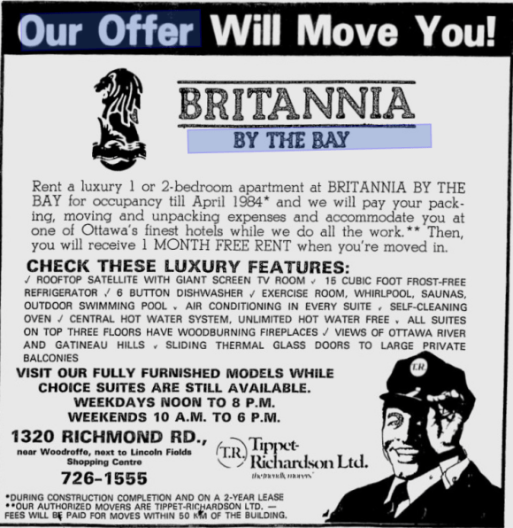One free month remains par for the course in many rentals today. I've yet to see an offer for a hotel room or movers, however. Source: Ottawa Citizen, February 7, 1984.