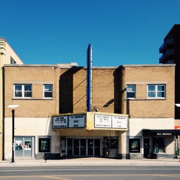 The Bytowne Theatre is probably the most well-loved feature of Uptown Rideau. Image: July 2014.