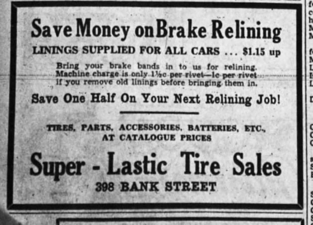 The first ad for Leroy and MacNish's Canadian Tire Associate Store. Super-Lastic was the corporation's brand of tires. Source: Ottawa Journal, June 8, 1935, Page 20.