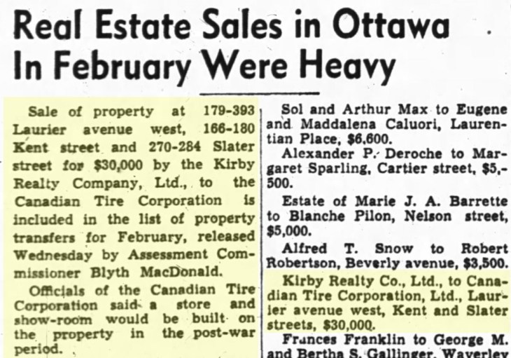 The property at Kent and Laurier was the highlight property transfer in February 1945. Source: Ottawa Journal, March 8, 1945, Page 7.