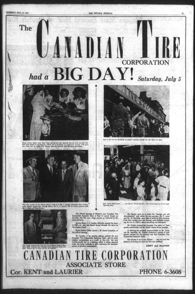 The opening was quite a party. Source: Ottawa Journal, July 10, 1952, Page 19.