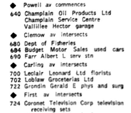 From the Ottawa City Directory, 1953. Once Canadian Tire departed, the Department of Fisheries rented out the space.