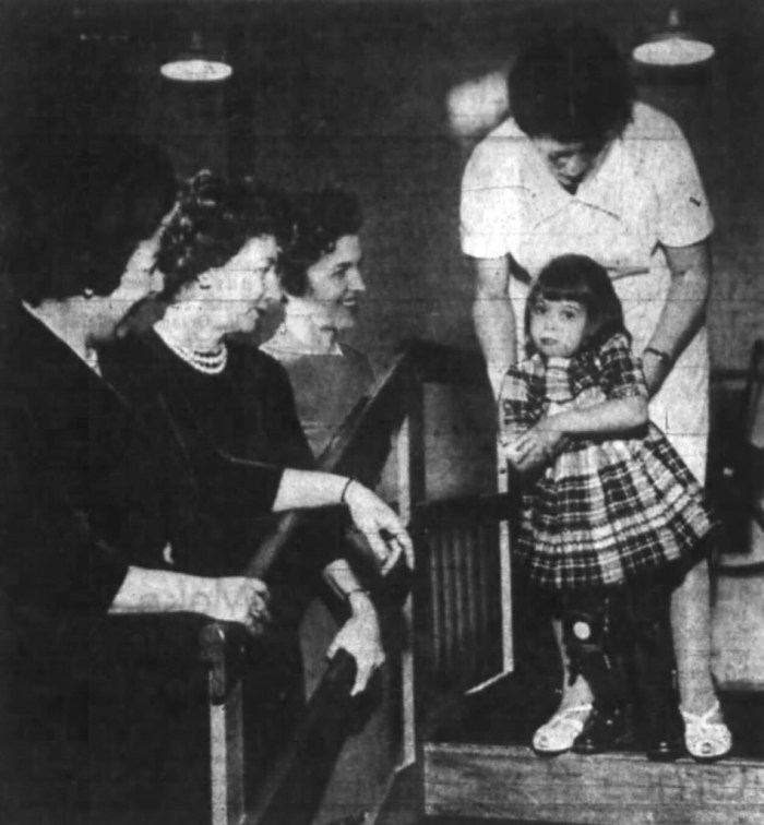 During a fundraiser in 1961, Physiotherapist Margaret McCormack demonstrates some of the work of the recently-formed Ottawa Rehabilitation Institute with four-year-old Leslie Cody. Source: Ottawa Journal, January 14, 1961, Page 16.