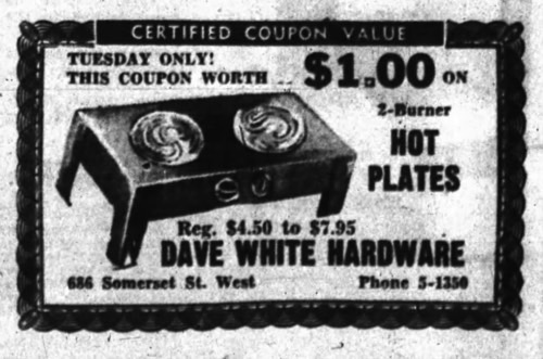 Dave White Hardware was a fixture near the corner of Somerset and Bronson (the Petro-Canada today) for nearly a decade. Source: Ottawa Journal, March 22, 1954, Page 8.