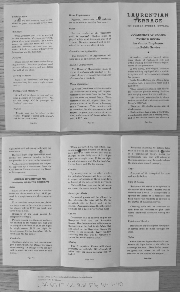 This brochure from June of 1943 outlines the rules and expectations of Laurentian Terrace Residents. Source: LAC RG 17, Vol. 3681, File W-4-40.