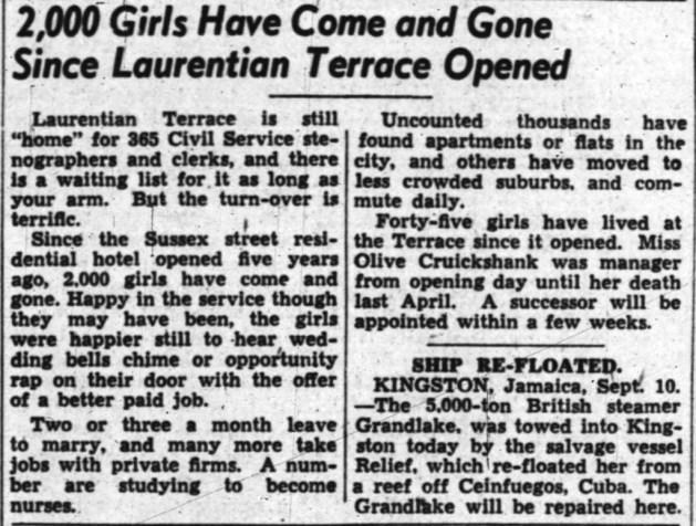 Laurentian Terrace: a popular choice. Source: Ottawa Journal, September 11, 1948, Page 3.