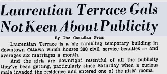 It goes without saying that the attention was not always wanted. Source: Ottawa Citizen, August 1, 1950, Page 13.