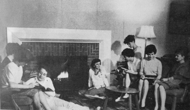 """Residents of Laurentian Terrace """"relax in one of the comfortable common rooms."""" SOURCE: NEWSLETTER OF THE CENTRAL MORTGAGE AND HOUSING CORPORATION, VOLUME 9, NO. 12. JULY 31, 1964. [LAC MG 26-N3 (LESTER B. PEARSON FILES) VOLUME 166 FILE 352/C397.11 LAURENTIAN TERRACE.]"""