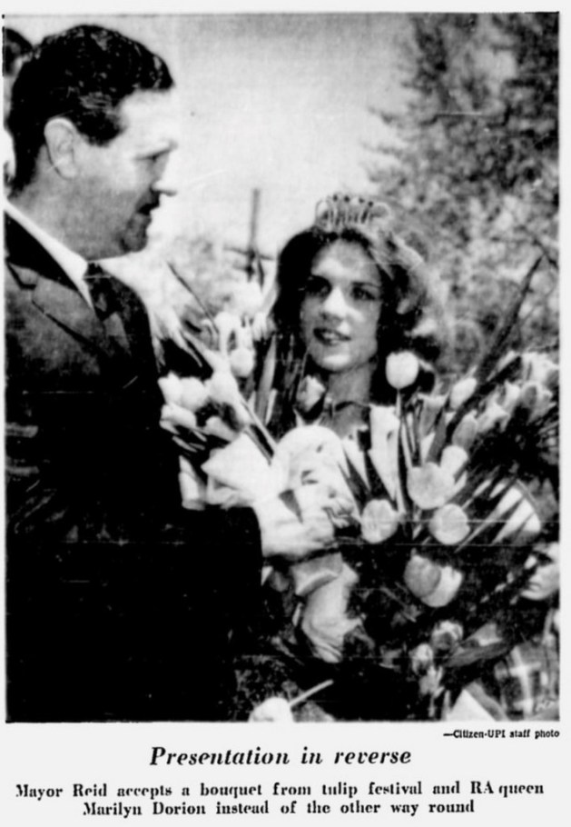 """The RA Queen (""""Miss Civil Service"""") was also Ottawa's Tulip Queen. Source: Ottawa Citizen, May 17, 1965, Page 4."""