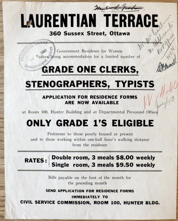 Poster advertising the availability of rooms at Laurentian Terrace, June 1943. Source: LAC RG 17 Volume 3681 File W-4-40.