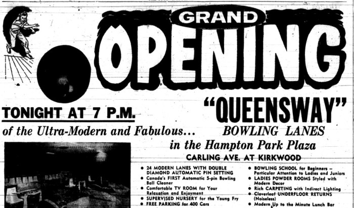 The Queensway Lanes was the first to open. Source: Ottawa Journal, August 16, 1961, Page 12.