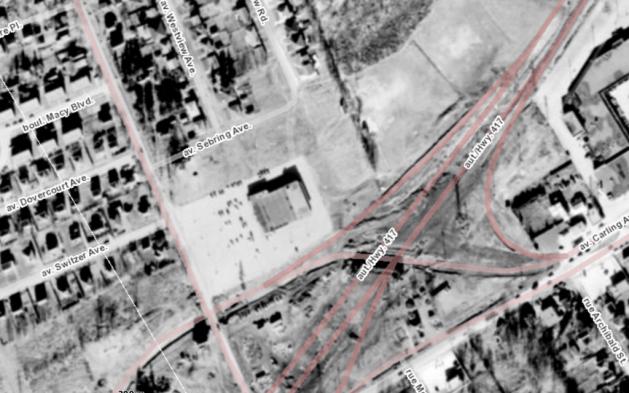 The site in 1958. Source: geoOttawa, 1958 Aerials.