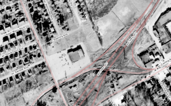 The site in 1958. Source: geoOttawa, 1958 Aerials.