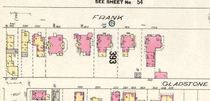 From the 1902 Goad's Atlas (1912 Revision), Frank street was beginning to fill in with large homes. Source: Library and Archives Canada.