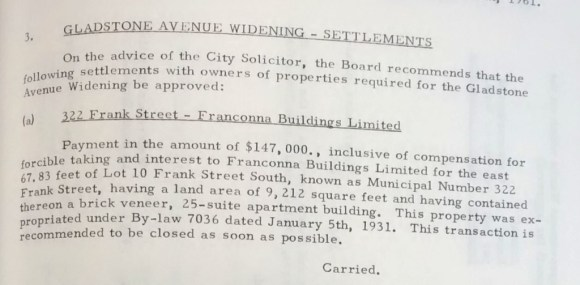 322 Frank was taken for $147,000 in January of 1961. Source: Minutes of the Council of the Corporation of the City of Ottawa 1961, p. 95.