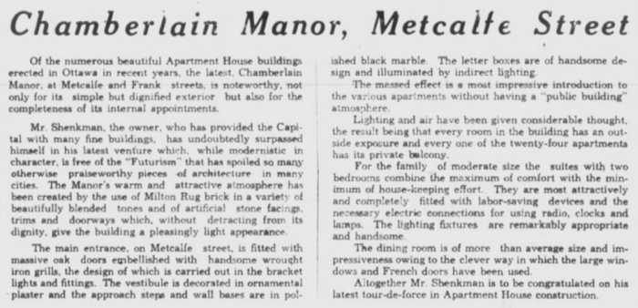 The description of Chamberlin Manor, as it appeared in the full-page advertisement. Source: Ottawa Journal, July 18, 1931, p. 12.