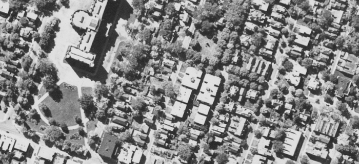Shown in this 1938 aerial is the completed development, with the Trafalgar being in place. Source: National Air Photo Library / uOttawa / A6352-37 September 25, 1938.
